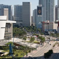 Downtown Miami biscayne boulevard and freedom tower and american airlines arena